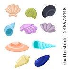 frame of sea shells  vector... | Shutterstock .eps vector #548673448