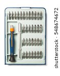 Small photo of Precision screwdriver set with various bits and bit extension
