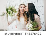 pretty bride with her... | Shutterstock . vector #548676472