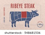 label for beef steak meat with... | Shutterstock .eps vector #548681536