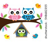 owls family sitting on a branch | Shutterstock .eps vector #548682355