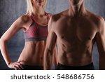 fit couple  strong muscular man ... | Shutterstock . vector #548686756