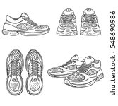 vector set of sketch running... | Shutterstock .eps vector #548690986