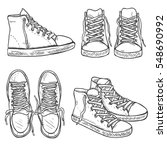 vector set of sketch gumshoes... | Shutterstock .eps vector #548690992
