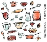 kitchen utensils  cooking and... | Shutterstock .eps vector #548697988