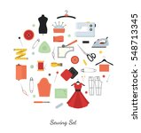 sewing and needlework vector... | Shutterstock .eps vector #548713345