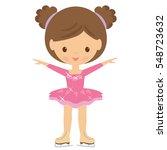 skating girl vector cartoon... | Shutterstock .eps vector #548723632