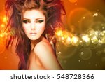beauty model woman with... | Shutterstock . vector #548728366