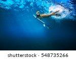 pretty girl in bikini with surf ... | Shutterstock . vector #548735266