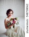 elegant charming young brunette ...   Shutterstock . vector #548738062