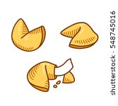 chinese fortune cookie set in... | Shutterstock .eps vector #548745016