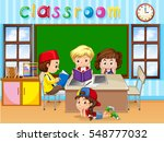 four kids studying in classroom ... | Shutterstock .eps vector #548777032
