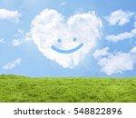 heart cloud field smile | Shutterstock . vector #548822896
