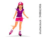 beautiful girl riding on roller ... | Shutterstock .eps vector #548862406
