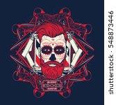 sugar skull face with... | Shutterstock .eps vector #548873446