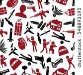 terrorism theme set of simple... | Shutterstock .eps vector #548893195