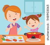 mother and daughter cooking... | Shutterstock .eps vector #548903065