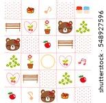 cute bear melody doodle pattern | Shutterstock .eps vector #548927596