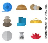 set of simple yoga equipment... | Shutterstock .eps vector #548952406