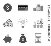 set of money icons and symbols...