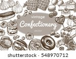 sweets and bakery set. hand... | Shutterstock .eps vector #548970712