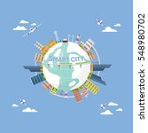 smart city on world map   Shutterstock .eps vector #548980702