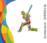 abstract cricket player vector... | Shutterstock .eps vector #548985118