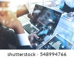 designer businessman hand using ... | Shutterstock . vector #548994766