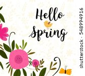 hello spring greeting card.... | Shutterstock .eps vector #548994916