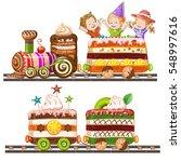 children traveling in train cake | Shutterstock .eps vector #548997616
