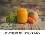homemade baby food in jar  next ... | Shutterstock . vector #549014302