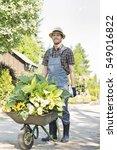 Full Length Of Gardener Pushin...