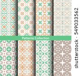 green seamless patterns set.... | Shutterstock .eps vector #549033562