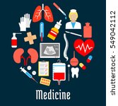 medical flat icons placed as a... | Shutterstock .eps vector #549042112