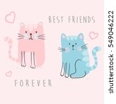 Stock vector cute kittens illustration for kids vector graphic 549046222