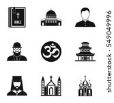 religion icons set. simple... | Shutterstock . vector #549049996