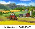 farm rural landscape. raster... | Shutterstock . vector #549050605