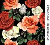 wildflower rose flower pattren... | Shutterstock . vector #549069685