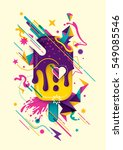 Modish colorful abstract composition with ice cream, geometric objects, splash and other various design elements. Vector illustration. | Shutterstock vector #549085546