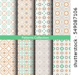 green seamless patterns set.... | Shutterstock .eps vector #549087106