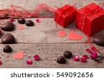 valentine gift box and red... | Shutterstock . vector #549092656