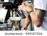 barista preparing coffee at...   Shutterstock . vector #549107326