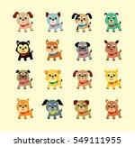 Stock vector cute puppy dog vector collection 549111955
