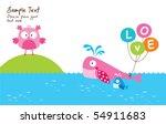 merry whale loves little owl   Shutterstock .eps vector #54911683