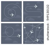 plane flight with dotted trace... | Shutterstock .eps vector #549130132