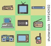 flat icons set of retro... | Shutterstock .eps vector #549142432