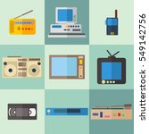 flat icons set of retro... | Shutterstock .eps vector #549142756