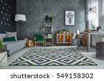 grey room with pattern carpet... | Shutterstock . vector #549158302