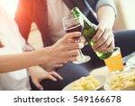 group of friends clinking... | Shutterstock . vector #549166678