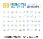 Stock vector vector graphic set icons in flat contour thin and linear design process of dog training simple 549168325